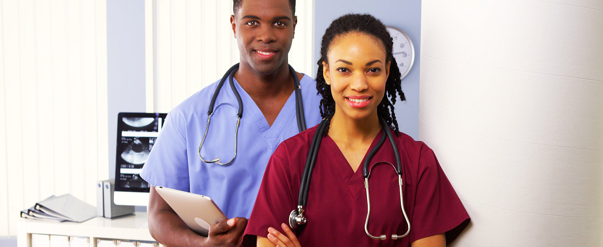 two medical staffs smiling